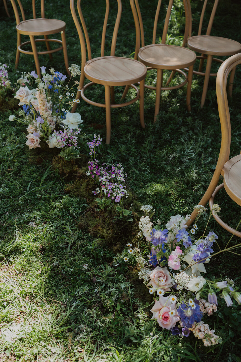 Styled Spring Elopement at Mona Farm featuring the Renee Grace Bridal 'Alana' gowns